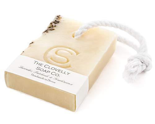 Clovelly Soap Co. Handgemachte Lavendel, Patschuli & Weihrauch Naturseife mit Schnur für alle Hauttypen 100g
