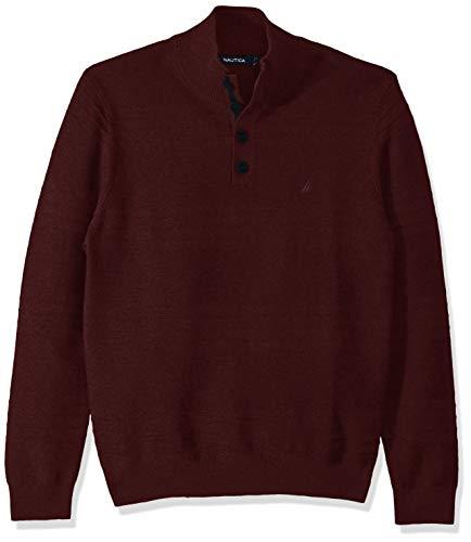 Nautica Suéter de cuello alto con textura a rayas para hombre - rojo - X-Large
