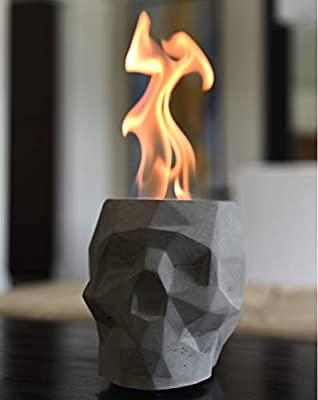 COLSEN Skull Tabletop Rubbing Alcohol Fireplace Indoor Outdoor Fire Pit Portable Fire Concrete Bowl Pot Fireplace