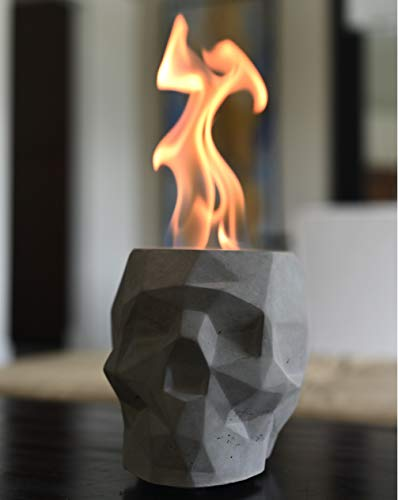 Colsen Tabletop Rubbing Alcohol Fireplace Indoor Outdoor Fire Pit Portable Fire Concrete Bowl Pot Fireplace (Skull)