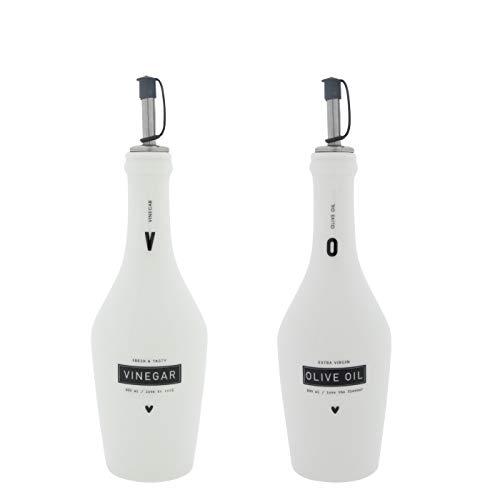 Bastion Collections BC Vinegar & Olive Oil Flaschen Set incl. Ausgießer Keramik Weiss schwarz Keramikgeschirr Küchenaccessoires Gedeckter Tisch