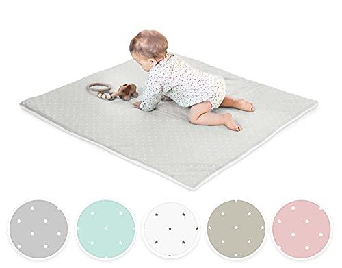 Ehrenkind® Krabbeldecke Baby mit Bio-Baumwolle | 100x100cm | OEKO-TEX Kuscheldecke Unisex | Grau weiße Punkte