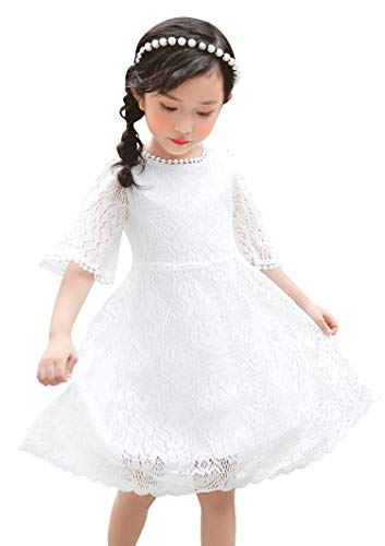 Youwon Flower Girls Dress Lace Dress Vintage Country Wedding Party Dress 2-6 7-16 White 12-14 Years
