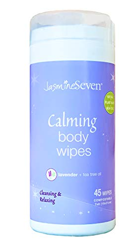 Calming Body Wipes – Natural Lavender and Tea Tree – by Jasmine Seven for Home and Spa – reduce stress with self-care for Adults and Kids