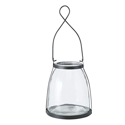 Modern Farmhouse Wind Light, Hurricane Candle Lantern, Clear Glass, Black Metal Collar and Loop Handle, 5 D x 6.75 H Inches, 1.5 lbs