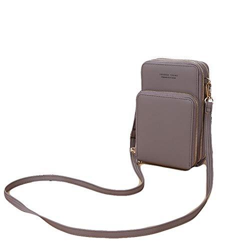 Frauen Kleine Handy Crossbody Geldbörse Brieftasche Mini Leichte Leder Cross Body Handytasche mit Gurt Kartenfächer (Grau)