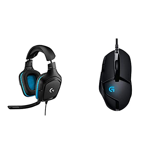 Logitech G432 Cuffie Gaming Cablate, Audio Surround 7.1, Cuffie Dts: X 2.0 & G402 Mouse Gaming Hyperion Fury, 4.000 Dpi, Design Leggero