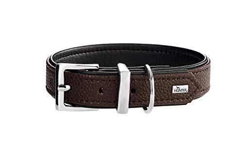 HUNTER Vega - Collar para Perro de Piel sintética, Resistente, fácil de Limpiar, 50 (S-M), Color marrón y Negro