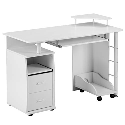 Goujxcy Computer Desk Station,Home Office Desk with Keyboard Tray,CPU Holder and Drawers,Morden Writing Study Table (White)