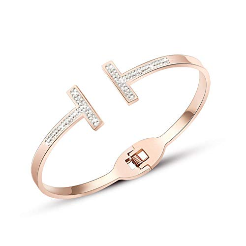 Armband armbanden dubbele T dubbele rij boormachine lente roségoud armband sieraden