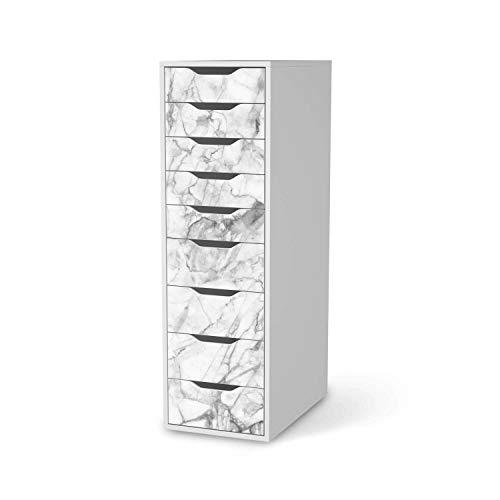 creatisto Möbel-Folie passend für IKEA Alex 9 Schubladen I Möbelfolie - Möbel-Tattoo Sticker Aufkleber I Deko Ideen Wohnung für Esszimmer und Wohnzimmer - Design: Marmor weiß