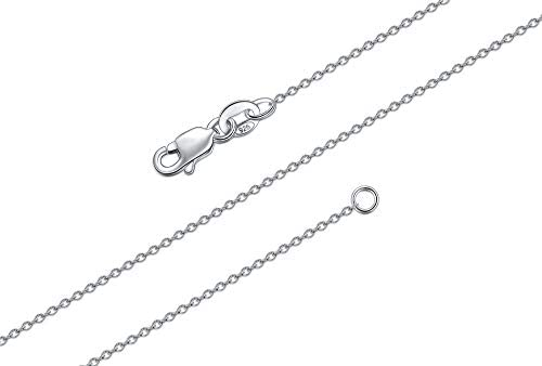 BORUO 925 Sterling Silver Cable Chain Necklace 1mm Solid Italian Nickel Free Lobster Claw Clasp product image