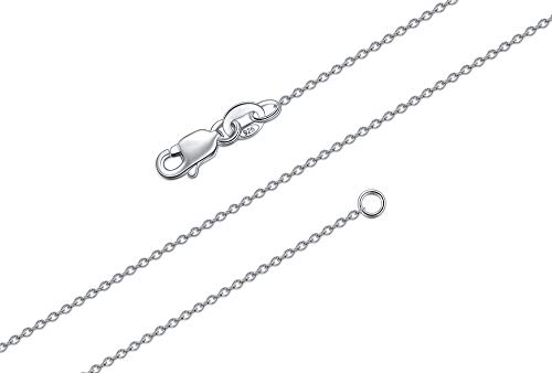 925 Sterling Silver Cable Chain Necklace, BORUO 1mm Solid Italian Nickel-Free Lobster Claw Clasp 14 Inch