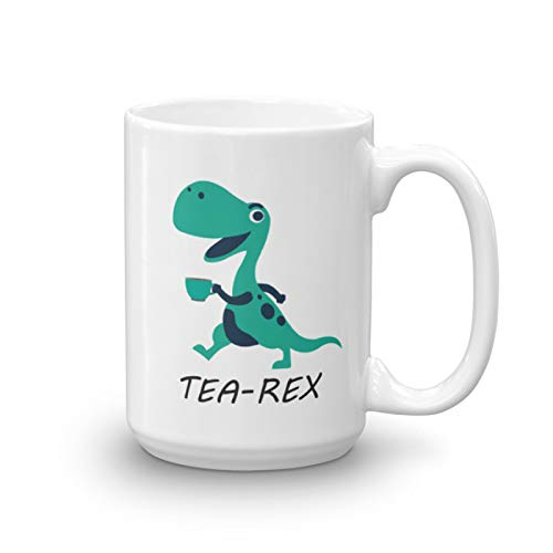 Tea-rex Dinosaur Funny Mug by APASIN - Tyrannosaurus Rex Mug - Deluxe Double-Sided Unique Ceramic Novelty Holiday Christmas Hanukkah Gift for Men & Women Who Love Tea Mugs & Coffee Cups (15oz)