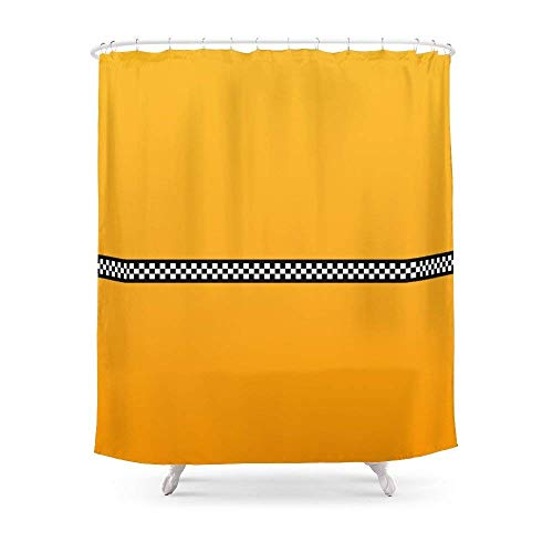 Suminla-Home Badezimmer NY Taxi Cab gelb mit schwarz & weiß kariert Streifen Vorhang für die Dusche 182,9cm von 182,9cm