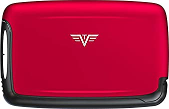 TRU VIRTU Aluminium Card Case   Business Cards Holder   Credit Card Holder   Rfid Safe Silk Line (Red)