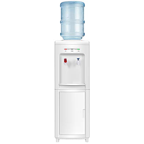 COSTWAY Top Loading Water Cooler Dispenser for 3-5 Gallon Bottle, Hot and Cold Water Cooler Dispenser with Storage Cabinet, Child Safety Lock, Freestanding Water Cooler Dispenser with Compression Refrigeration Technology, White