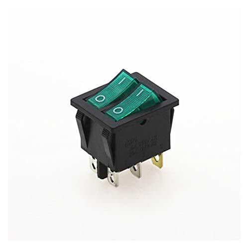 QHMDZ Interruptor basculante Double Rocker Switch 6 Pin On-Off con luz roja Verde 20A 125VAC (Color : Green)