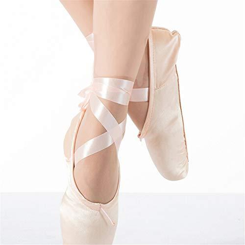 Supmico Frauen Mädchen Ballettschuhe Spitzenschuhe Ballettschläppchen Tanzschuhe Rosa