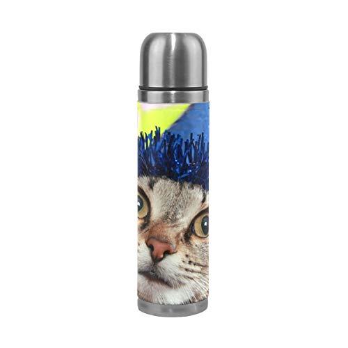 XiangHeFu Thermoskan waterfles, ca. 17oz, alles goed voor verjaardag, kleine kat houdt koud of warm, reisbeker, drink lekvrij sport