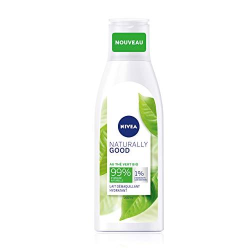 NIVEA NATURALLY GOOD Lait Démaquillant Hydratant 200 ml, Nettoyant visage enrichi en extraits de Thé Vert Bio, démaquillant waterproof tous types de peaux