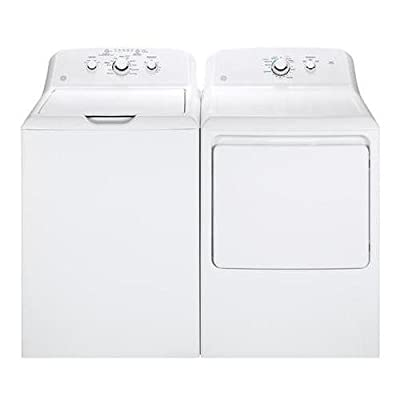 "GE White Laundry Pair with GTW330ASKWW 27"""" Top Load Washer and GTX33GASKWW 27"""" Front Load Gas Dryer"