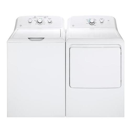 "GE White Laundry Pair with GTW330ASKWW 27"""" Top Load Washer and GTD33EASKWW 27"""" Front Load Electric Dryer"