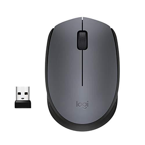 Logitech M170 Mouse Wireless, 2.4 GHz con Ricevitore Nano USB, Rilevamento Ottico, Durata Batteria 12 Mesi, Mouse Ambidestro, PC/Mac/Laptop, Grigio