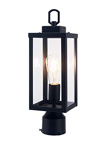 YaoKuem Outdoor Post Light, Pole Lantern, E26 Base 60W Max, Metal Housing Plus Glass, Wet Location Rated, Bulbs not Included