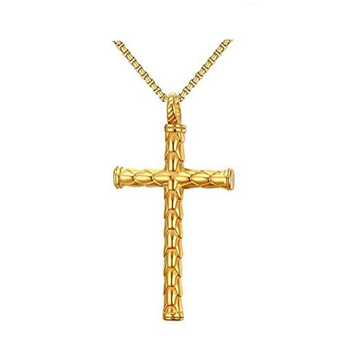 Nuevo collar y colgante con cruz de color dorado y plateado para hombre, diseño de escamas de dragón, joyería de acero inoxidable-42383_60 cm