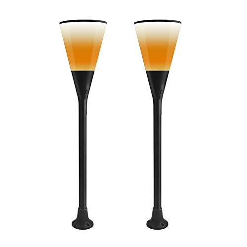 Solar Torch Lights, Solar Flame Torch Lights Outdoor, Flickering Flame ABS Lampshade Auto On/Off, IP65 Waterproof Solar Powered Lights, for Path/Beach/Yard/Lawn/Garden,2pcs