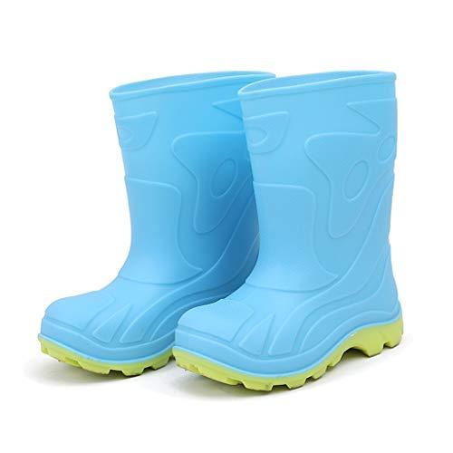 GDSSX Sólido Simple de los niños del Color Botas de Lluvia niños y niñas Botas de Lluvia Ligera Antideslizante Botas Impermeables Outdoor (Color : Blue, Size : 22cm)