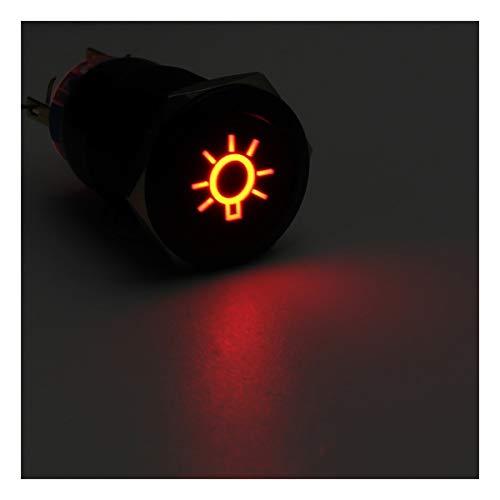 YOUCHANG 19mm Push Button LED Interruptor de la luz de Techo Interruptores Auto-Bloqueo momentáneo 12V for el Coche del Barco del Carro del camión (Color : Red)