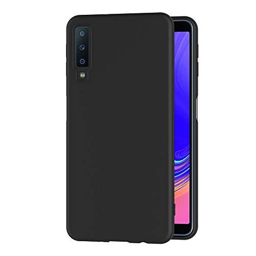 AICEK Cover per Samsung Galaxy A7 2018, Cover Samsung A7 2018 Nero Silicone Case Molle di TPU Sottile Custodia per Galaxy A7 2018 (A750 6.0 Pollici)