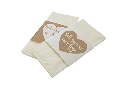 50 Stück Papierbanderolen Freudentränen Taschentücher Hochzeit Kraftpapier-Look Hab nur was im Auge (nur Banderolen)