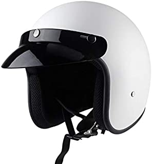 Motorcycle Vintage 3/4 Helmet Latest Leather Synthesis Helmet Cruiser Chopper Aviator Helmet Certification (A1, L)