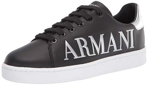 Emporio Armani Damen Emporio Logo Flat Sneaker Turnschuh, Schwarz/silberfarben, 39 EU