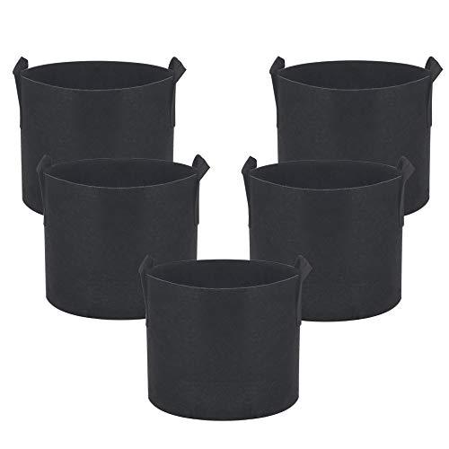 Jardinera para verduras - Bolsa para el cultivo de tomate Macetas para plantas de invernadero Bolsas Tela no tejida reutilizable con asas 10 galones, black