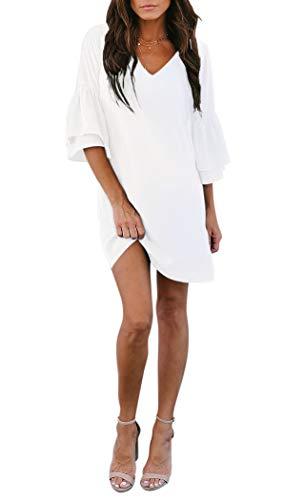 BELONGSCI Women's Dress Sweet & Cute V-Neck Bell Sleeve Shift Dress Mini Dress White