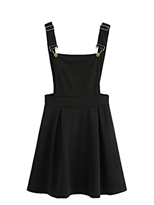 Romwe Women's Cute A Line Adjustable Straps Pleated Mini Overall Pinafore Dress Black M