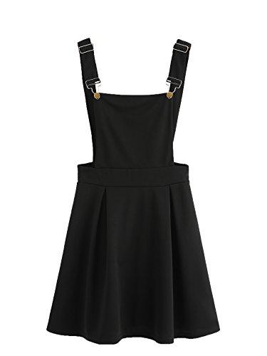 Romwe Mini vestido feminino Plissado com alças ajustáveis e lindas tiras em A, Preto, Large