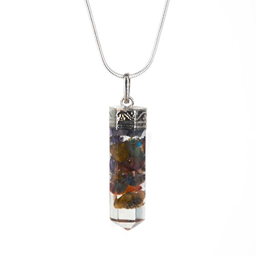 Piezo Orgonite Hex Bullet Chakra Pendant Necklace - 7 Types of Bionized Crystals for Each Chakra - Tested Cell Phone Radiation Shield - Protects From 5G Cell Technology - Negative Energy Transformer