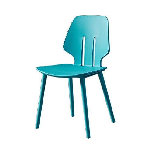 YLCJ eetkamerstoelen, verdikte rugleuning, eetkamerstoel van kunststof, bureaustoel, computerstoel, Scandinavische stijl, minimalistisch, modern, groen Blauw