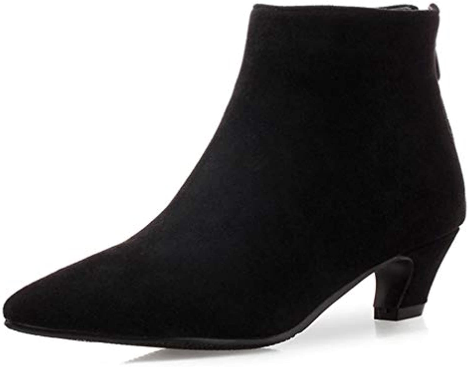 GIY Women's Pointed Toe Dressy Suede Ankle Boots Stilettos Low Heel Zipper Booties Retro Martin Short Boot