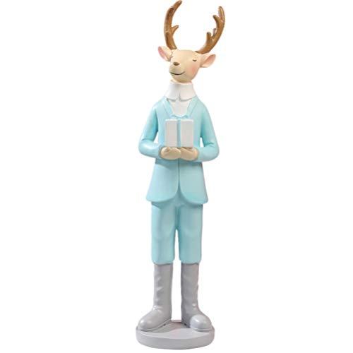 Healifty Standing Deer Figurine Resin Deer Doll Reindeer Doll Xmas Party Home Tabletop Kids Room Shelf Decor (Blue)