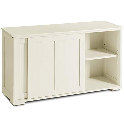 GOPLUS Sideboard Farbewahl, Küchenschrank Badschrank Wohnzimmerregel Beistellschrank Mehrzweckschrank (Weiß)