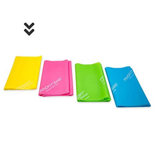 PINOFIT Fitnessbänder - Widerstandsbänder einzeln oder im Set - Stretch Band - Gymnastikband 2m in Profiqualität - Verschiedene Stärken - aus Naturlatex (Yellow (leicht))
