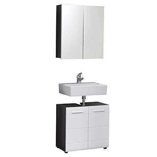 trendteam smart living Skin Badezimmer 2-teilige Set Kombination, Korpus Sardegna Rauchsilber mit viel Stauraum und Ablagefläche, Front Weiß Hochglanz, 60 x 182 x 31 cm