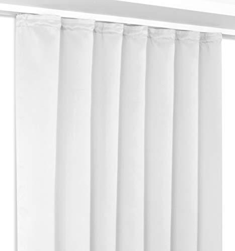 Verdunkelungsgardine mit Kräuselband, blickdichter Vorhang 140x245 cm Farbe wählbar, Weiß