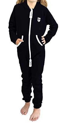 Gennadi Hoppe Kinder Jumpsuit Overall Jogger Trainingsanzug Mädchen Anzug Jungen Onesie,schwarz,9-10 Jahre